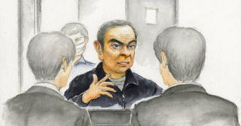 拘置所で取材に応じる日産自動車のカルロス・ゴーン元会長(イラストはデザイン編集部・萩原始)=面会した記者の説明を基に作画しました