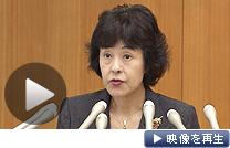 会見で泊原発3号機の営業運転再開容認を表明する高橋はるみ北海道知事