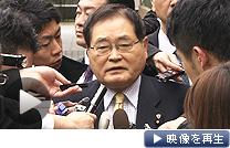 野田首相との会談を終え、報道陣の質問に答える亀井静香国民新党代表