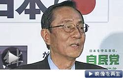 自民・町村氏の検査入院について記者会見する細田氏(テレビ東京)
