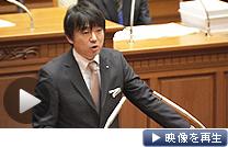 大阪市議会で施政方針演説をする大阪市の橋下市長(28日)