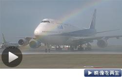 ラストフライトを終え羽田空港に到着したボーイング747型機(31日)