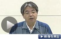 4日午前に記者会見する東京電力の担当者(テレビ東京)
