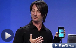 スマートフォン向けOSを刷新し年内に「ウィンドウズフォン8」を投入すると発表するマイクロソフトのべルフィオール副社長(20日)