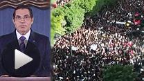 チュニジアの大規模デモでベンアリ大統領(左)は国外に脱出した(14日)